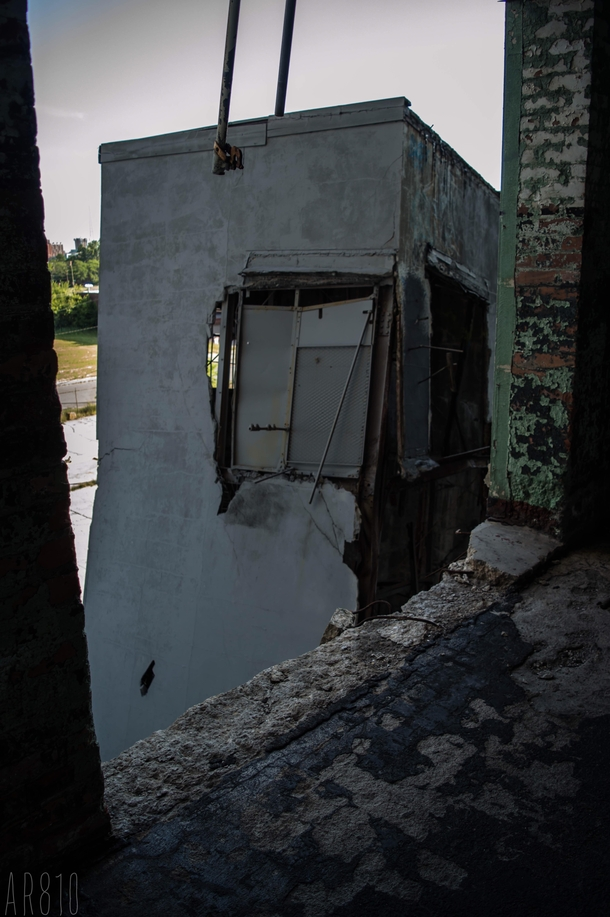 An elevator shaft at a left behind auto body plant that is completely disconnected from the building Detroit Mi