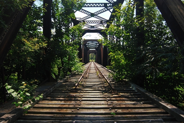 An old railroad bridge I passed in Maine