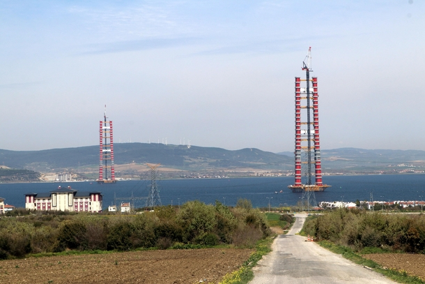 anakkale  transcontinental bridge spanning the Dardanelles strait to be worlds longest suspension bridge with main span of  meters