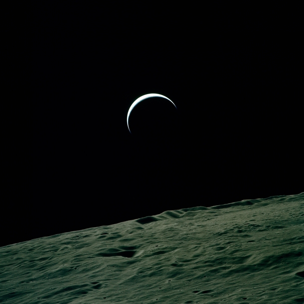 Apollo view of a crescent Earth from the Moon - Photorator
