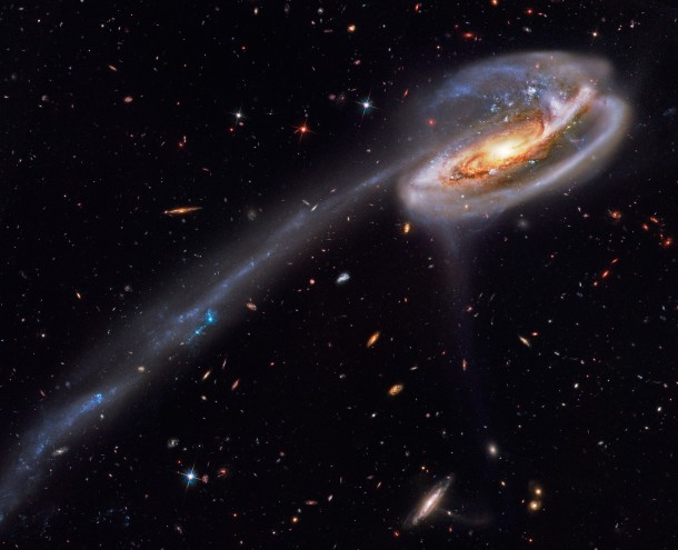 Arp  and the Tadpoles Tail  Its eye-catching tail is about  light-years long -- more than  times the diameter of the Milky Way -- and features massive bright blue star clusters The tail was created because another galaxy passed near it