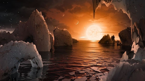 Artists impression of the surface of TRAPPIST-f depicting a liquid water ocean on its surface The parent star and neighbouring planets are also illustrated