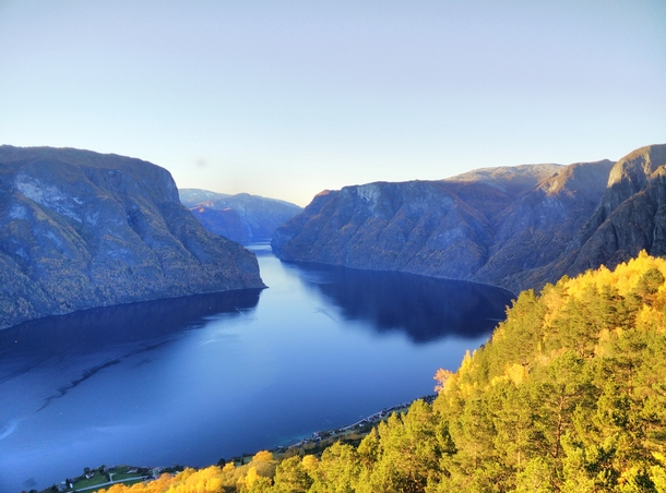 Aurlandsfjord Norway in Autumn
