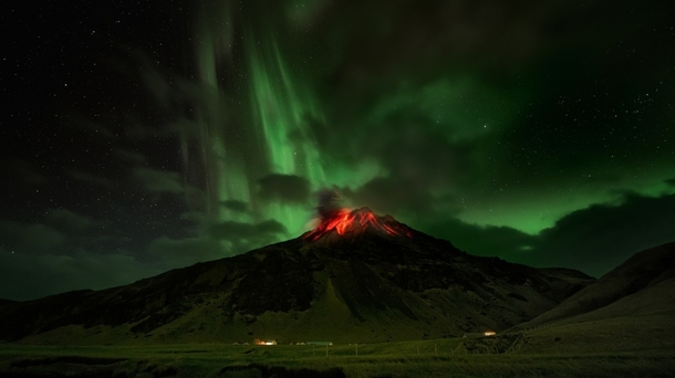 Aurora Borealis over Volcano Fimmvruhls in Iceland