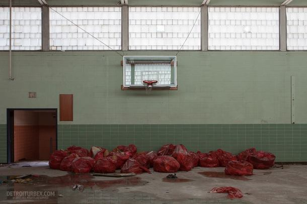Bags labeled Medical Waste in the gym of a closed mental health facility in Youngstown Ohio