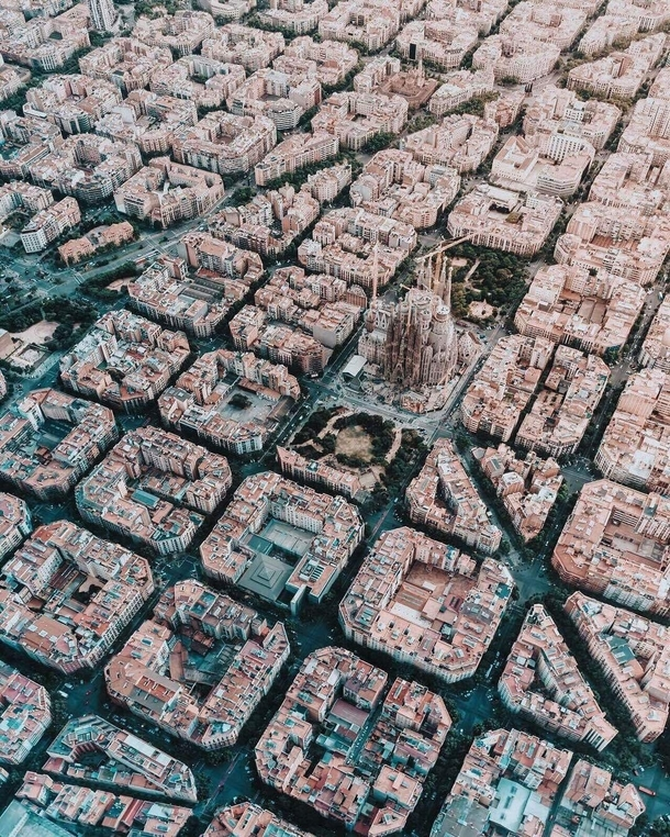 Barcelona Spain seen from above
