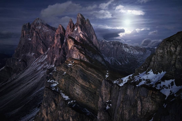 Between Day And Night Moonrise over the Seceda ridge just some minutes after sunset Dolomites  Photo by Kilian Schoenberger