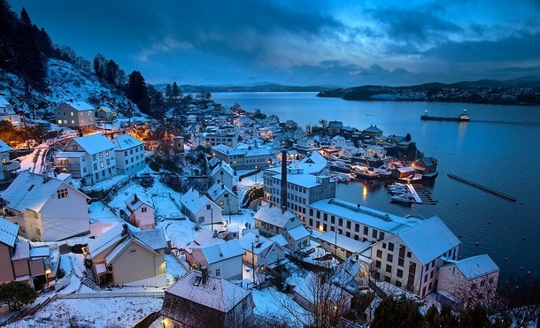 Blue hour at one of the most beautiful villages Salhus Bergen Norway