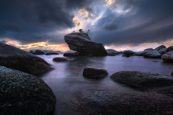 Bonsai Rock by Victor Carreiro Taken on the eastern shores of Lake Tahoe as a storm was passing through