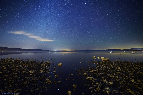 Breath-taking stars perfectly still waters and interesting rocks on the North Shore of Lake Tahoe last night
