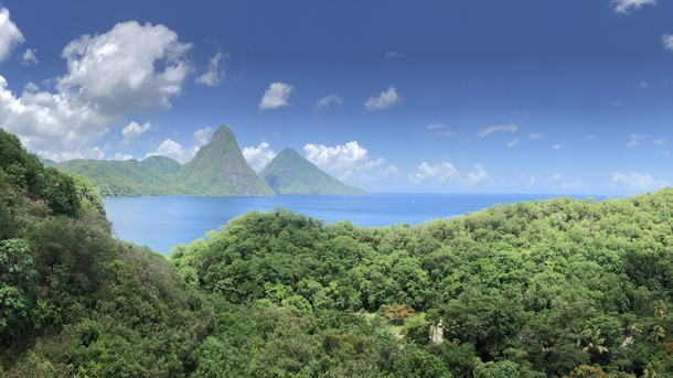 Breathtaking view of the Pitons in St Lucia