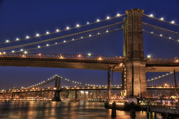 Brooklyn and Manhattan Bridge at night X-post from rHDR