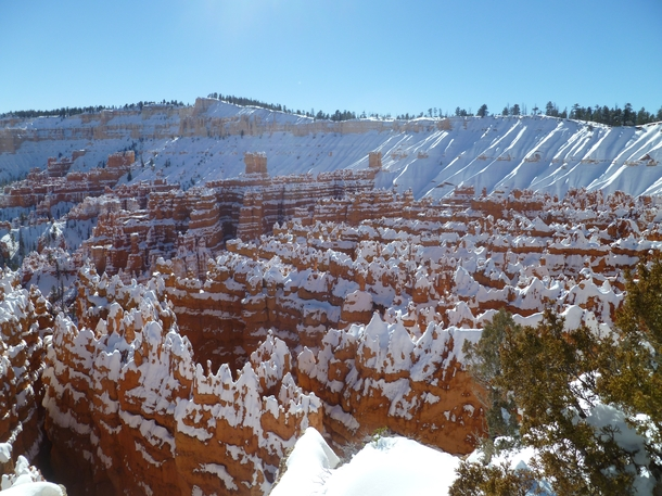 Bryce Canyon National Park Utah dusted in snow