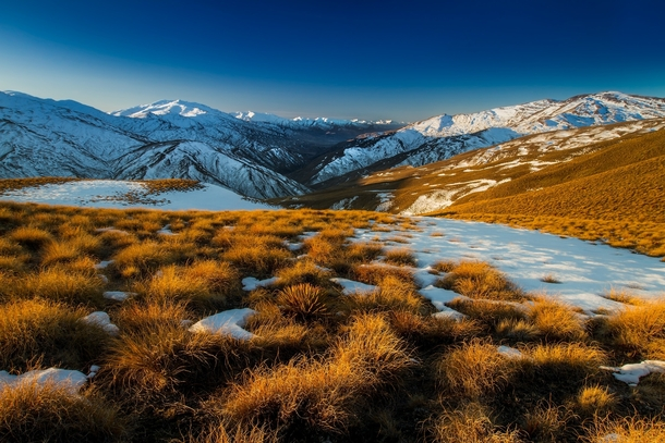 Cardrona Valley Skifield on the mountains on the left Otago New Zealand