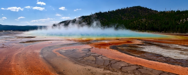 Certainly not the first post of this and it wont be the last But the Grand Prismatic Spring is out of this world and deserves the attention Yellowstone National Park Wyoming