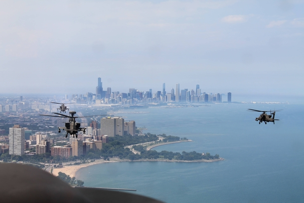 Chicagos lakefront via helicopter x-post rChicago