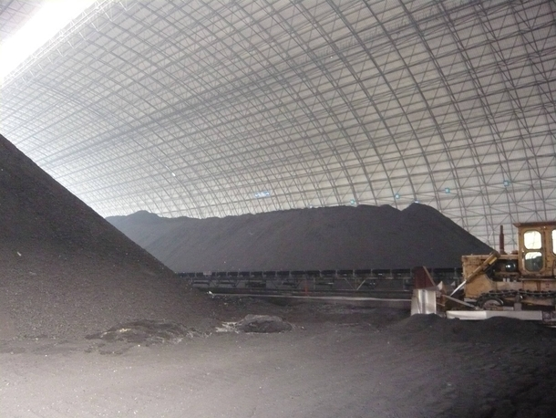 Chinas largest powdered coal storage area near Huaneng Power Plant in Beijing