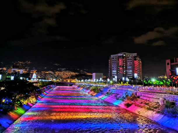 Christmas lights on the river Medelln Colombia