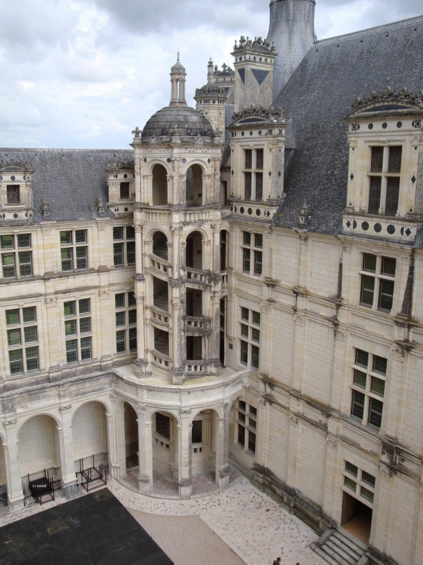Chteau de Chambord double helix staircase from outside