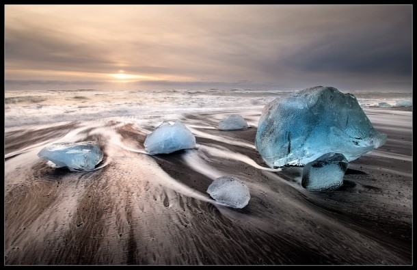 Chunks of ice on the beach in Iceland  photo by Victoria Rogotnev