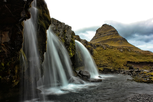 Classic Vantage Point of Kirkjufellsfoss Grundarfjordur West Region Iceland