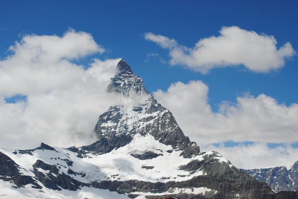 Clouds trailing off the Matterhorn Switzerland