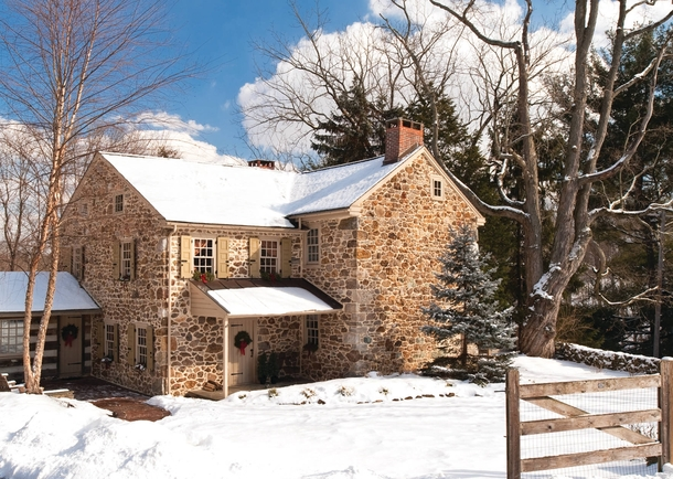 Coming Home for ChristmasJohn Edwards House - Perfectly Cozy Stone  Georgian Colonial Farmhouse  Delaware County Media PA Period Architecture LTD
