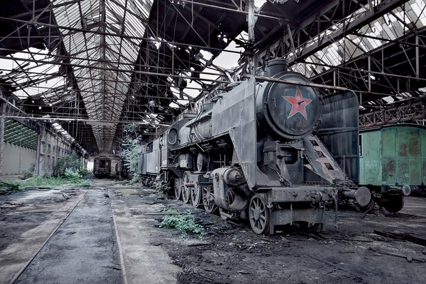 Communist era steam train - Hungary Part of Soviet Ghosts series by Rebecca Litchfield album in comments