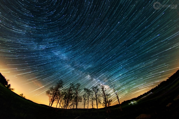 Composite I created of Milky Way trails forming over Shenandoah National Park with a fisheye lens