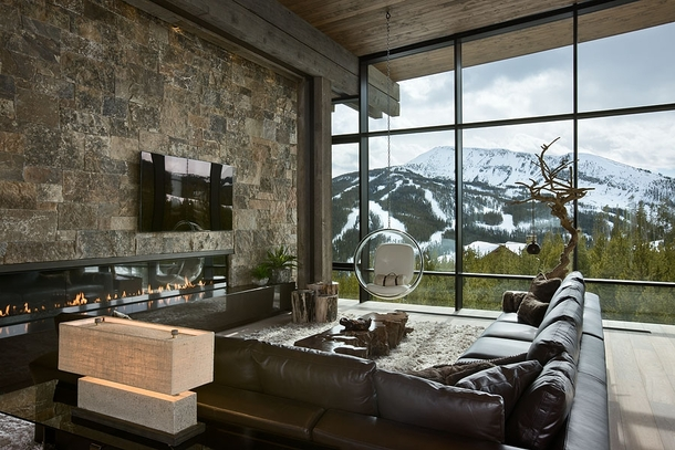 Contemporary mountain home with raw rustic inspiration - more in comments x xpost from rpics
