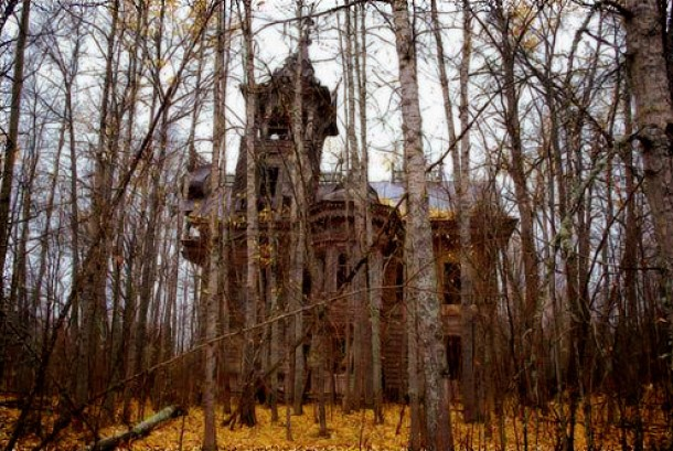 Crumbling mansion in the woods