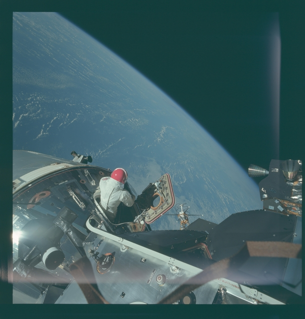 David Scott taking in the view during an EVA from Command Module Gumdrop seen from docked Lunar Module Spider   x-post rHI_Res