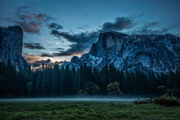 Dawn in the Meadow guarded by the Half Dome Yosemite National Park CA  Photo by Mark Cote