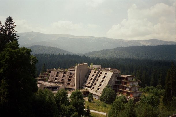 Decaying hotel from the  Sarajevo Olympics Bosnia and Herzegovina