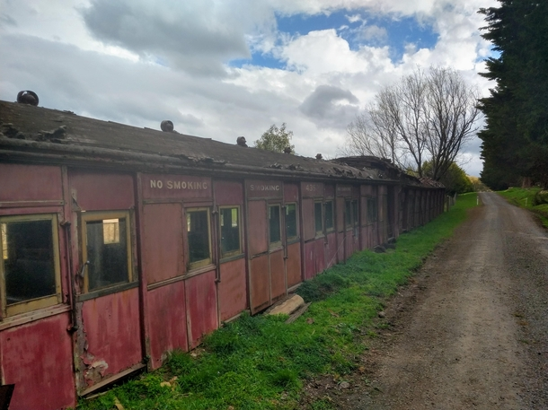 Decaying train car amongst the farms Pentland Hills Victoria Australia