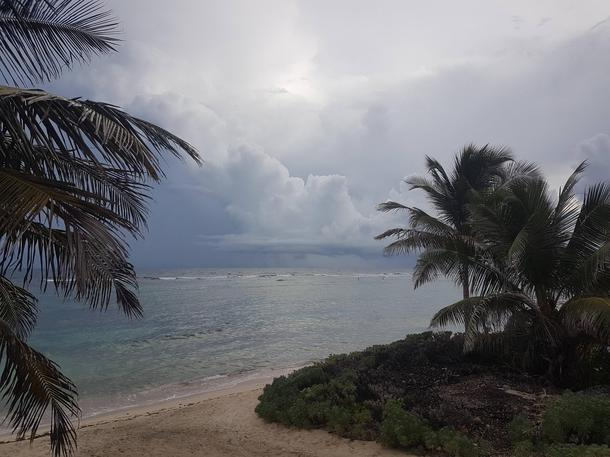 Distant rainstorm in the Caribbean