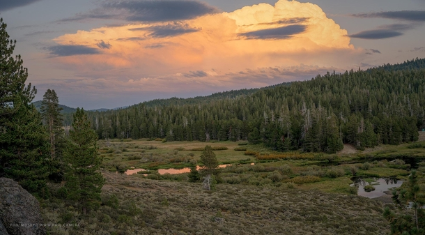 Distant thunderstorm at dusk An out-of-the-way place called Perazzo Meadows not far from Truckee CA