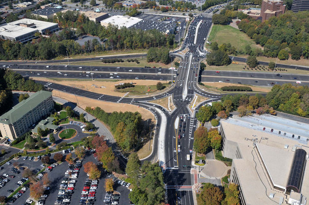 Diverging Diamond Interchange at Ashford-Dunwoody Road and I- in Atlanta