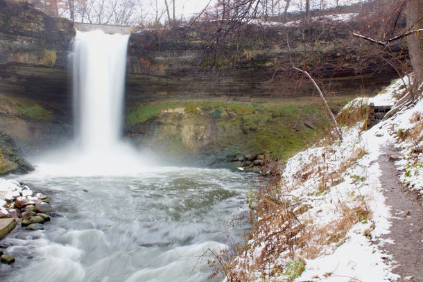 Due to multiple requests here is Minnehaha falls after the snow last night