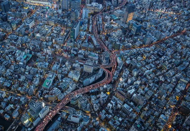 Edobashi Junction of Shuto Expressway at downtown Tokyo
