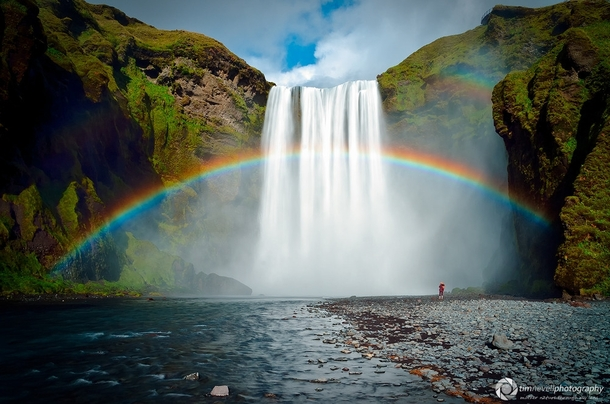End of the Rainbow at Skogafoss Falls in Iceland Photo by Tim Nevell