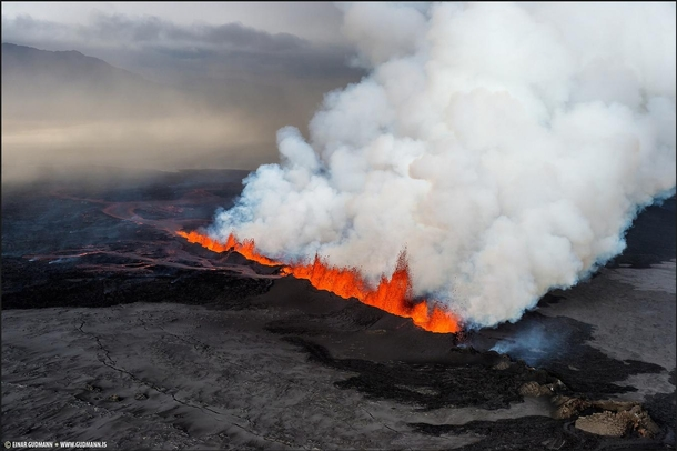 Eruption in Holuhraun Iceland -  by Einar Gumann