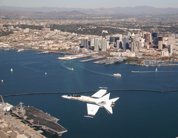 FA C Hornet flying over San Diego