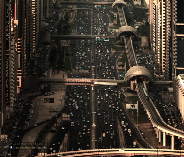 Featured is the Busiest road in the Middle East the mighty Sheikh Zayed Road in Dubai during the rush hour This is a panoramic view stitched from  vertically oriented photographs  photo byBeno Saradzic