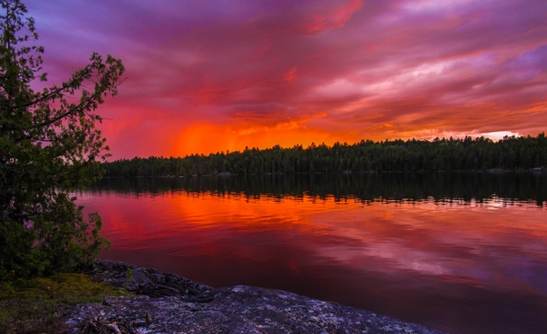 Fiery Sunset Over The Boundary Waters Minnesota