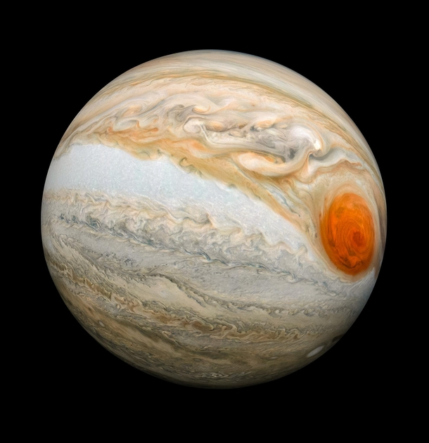 Fisheye view of Jupiter west of the Great Red Spot Juno Perijove