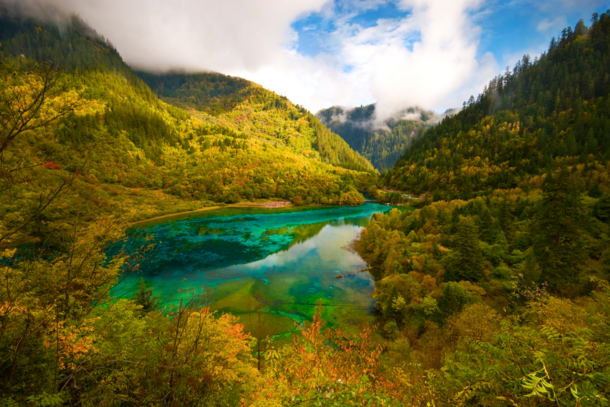 Five Flower Lake in Jiuzhaigou National Park China  by Ng Hock How