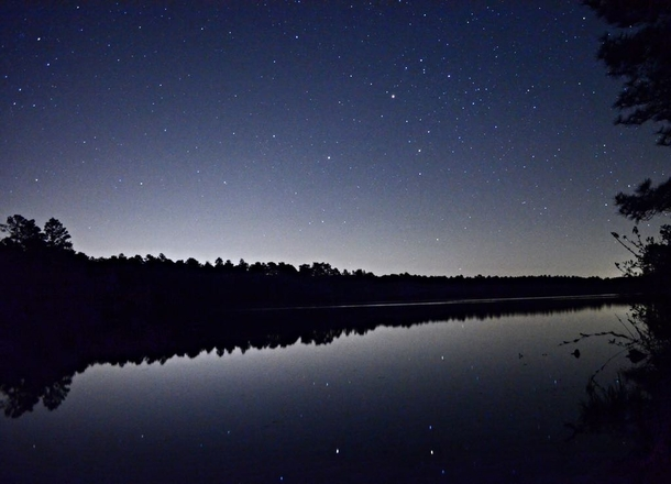 Fort Bragg light pollution is a real bother but Mars and Saturn reflecting off this lake is pretty cool