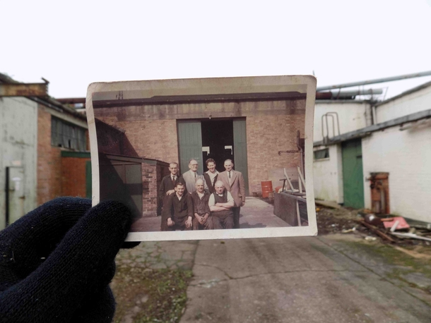 Found a photo of my Great-Grandad during his time at a local factory After exploring the now abandoned site I recognised where the photo was taken The original photograph was taken in August of