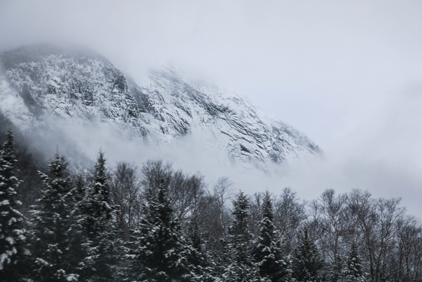 Franconia Notch NH on a snowy winter afternoon